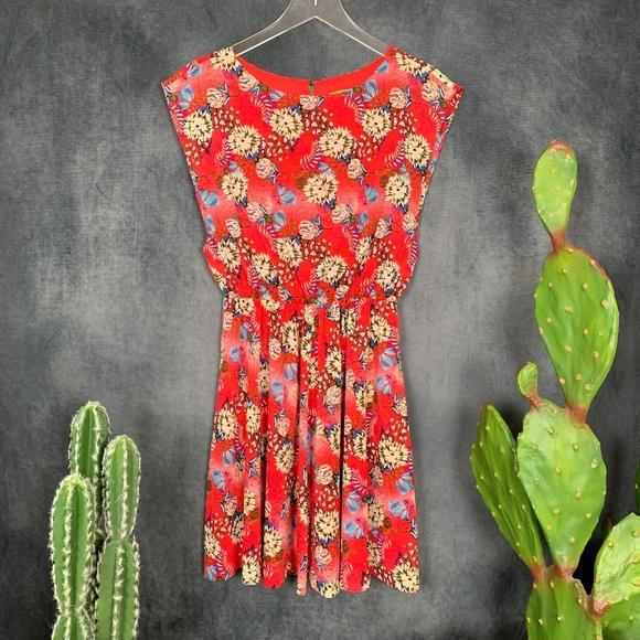 Alice + Olivia Dresses & Skirts - Alice + Olivia Floral Red Silk Dress Sleeveless XS